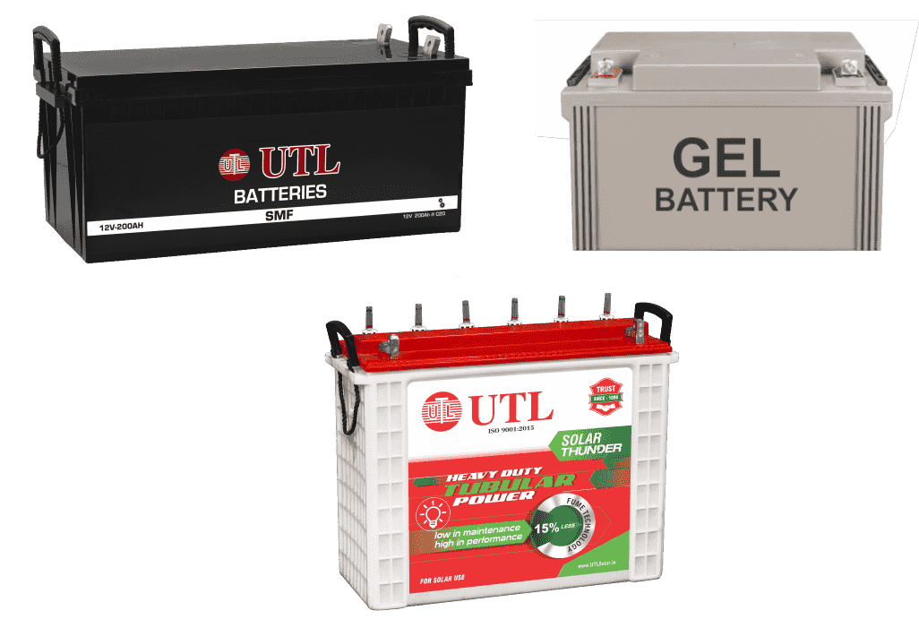 UTL Solar Inverter can be installed with any battery. (SMF, GEL, TUBULAR)